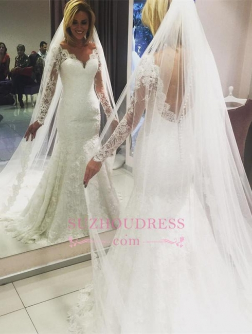 Long-Sleeve Mermaid Lace Glamorous Wedding Dress