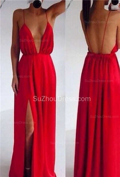 Red Prom Dresses  Spaghetti Straps Sleeveless Side Slit Chiffon Elegant Backless Charming Evening Gowns BO6889