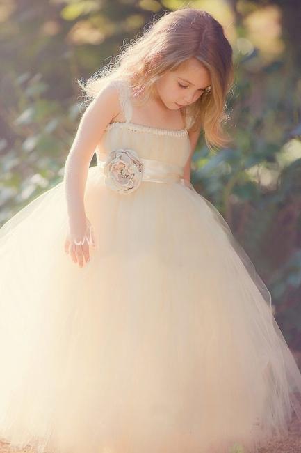 Lovely Light Champagne Cute Girls Pageant Dress Puffy Skirt Tulle  Flower Girl Dress