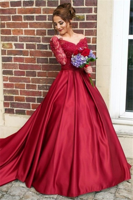 Off The Shoulder Long Sleeve Evening Dresses Dark Red V-neck Pretty  Wedding Dresses