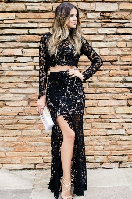 Two-Pieces Long-Sleeves Lace Prom Dress Sexy Slit Black Appliques Party Dresses On Sale