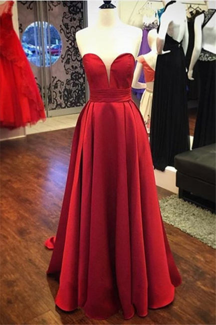 Red Satin Sweetheart  Evening Gowns Long A-line Elegant  Prom Dress