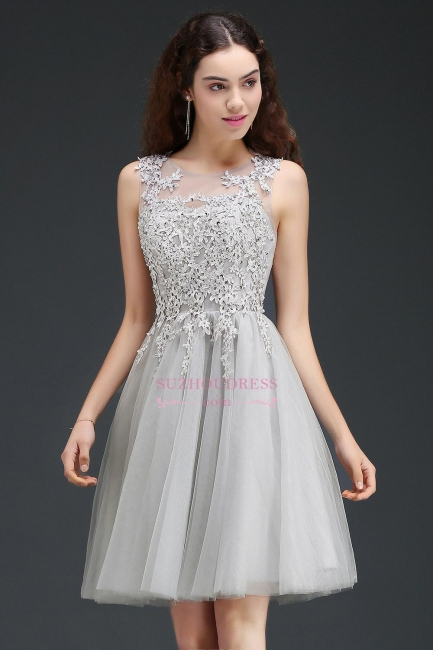 Appliques Tulle Sleeveless A-Line Silver Short Homecoming Dress