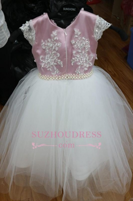 Pink Tulle Short-Sleeves Appliques Beadings Flower-Gril Dresses