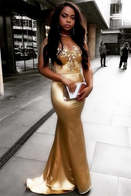 Sweetheart Sparkle Crystals Gold Evening Dresses Sexy Mermaid   Prom Dress