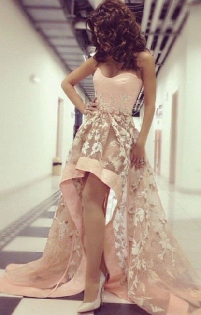 Sweetheart Lace Hi-Lo Prom Dress New Arrival Sleeveless  Party Dress