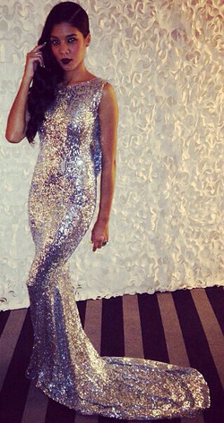 Sequined Mermaid Sleeveless Long Evening Dresses Latest Sweep Train  Backless Formal Occasion Dress BA7657