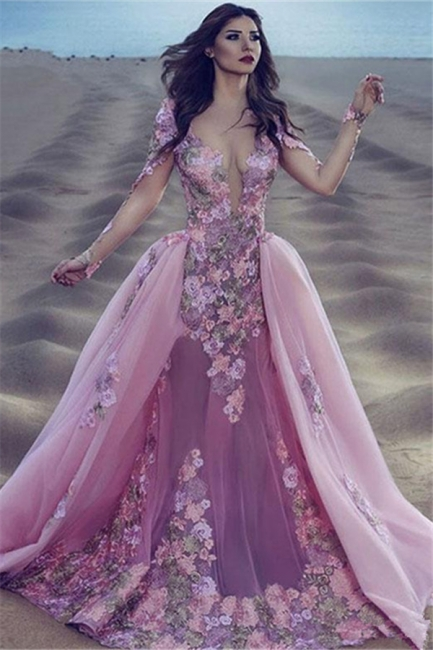 Long Sleeve Pink Prom Dress  Sheer Tulle Overskirt Appliques Gorgeous Evening Dress