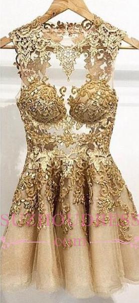 Gold Appliques Short Homecoming Dresses