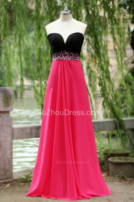 Sweep Train Prom Dresses Sweetheart Sequined Beading Ruched A Line Zipper Chiffon Evening Gowns