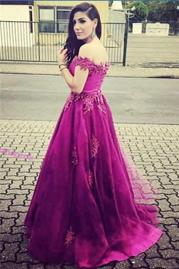 A-Line Off Shoulder Lace Prom Dress with Beadings Sweep Train Formal Special Occasion Gowns