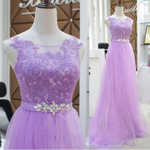 Custom Made High Quality Lilac Long Prom Dresses with Lace Appliques Crystals Soft Tulle  Evening Dresses