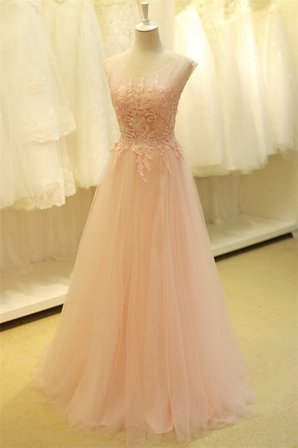 Formal Lace Tulle Long Pink Prom Dresses Open Back Floor Length Beautiful Zipper Plus Size Cute Evening  Dress TB0076