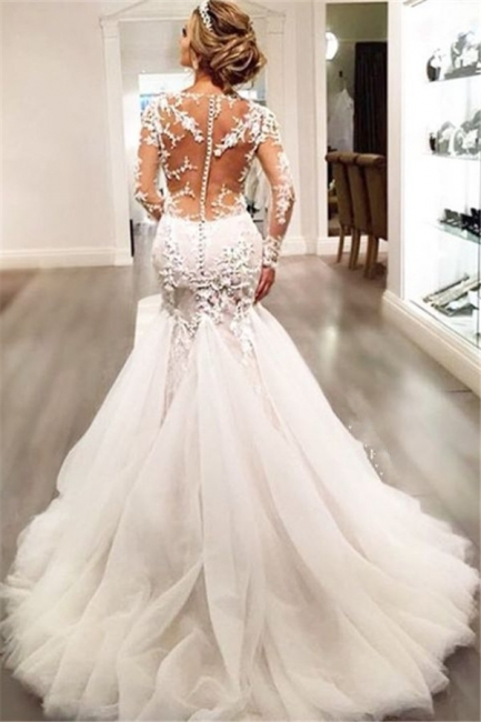 Lace Mermaid  Breathtaking Wedding Dresses V-neck Long Sleeve Modern Bridal Gowns WE0037