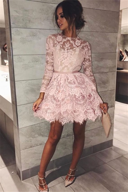 Pink Lace Long Sleeve Homecoming Dresses  Elegant Short Party Dress with Sash