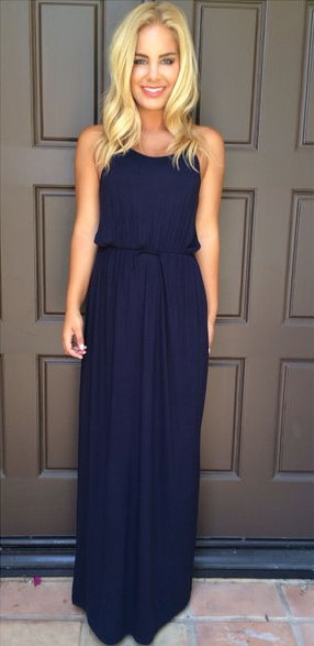 Halter Chiffon Navy Blue Summer Beach Prom Dress Simple Chiffon Evening Gown