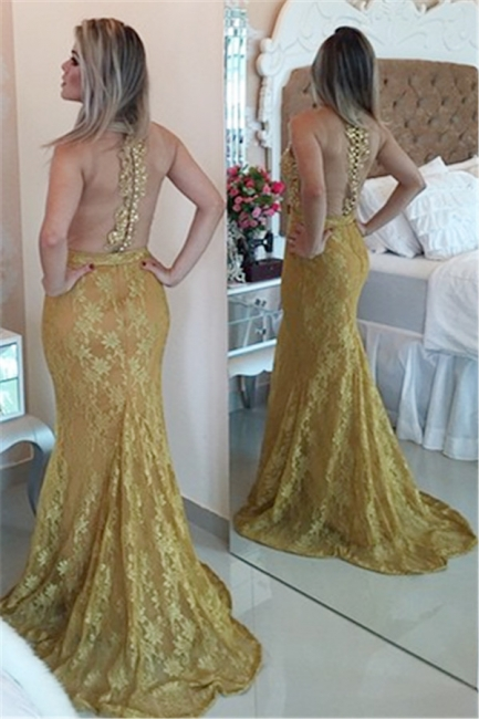 Gold Lace Mermaid Plus Size Evening Dress Sexy Sheer Tulle New Popular Prom Dress  BMT012