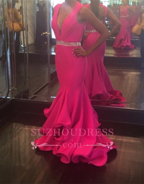 Mermaid Sleeveless Sexy Deep-V-Neck Beadings Prom Dress