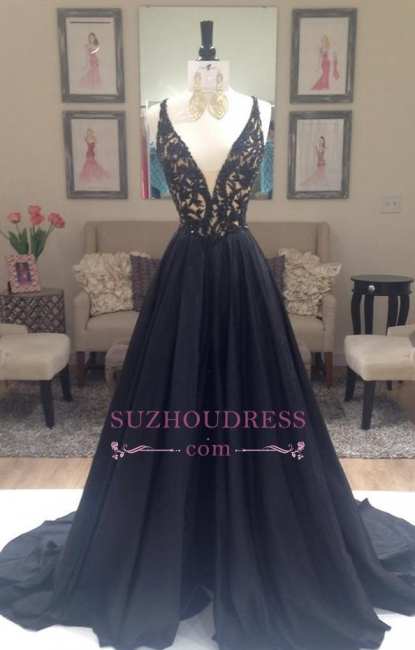 Applique Long Black V-Neck Sleeveless Gorgeous A-Line Evening Dresses  BA4336