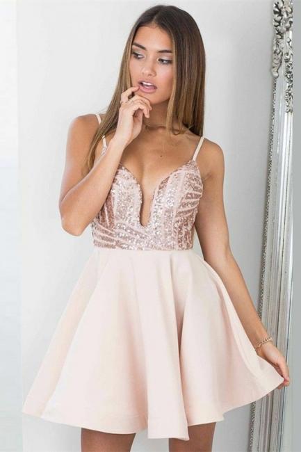 Elegant Spaghetti Straps Homecoming Dresses  |  Short Open Back Hoco Dresses