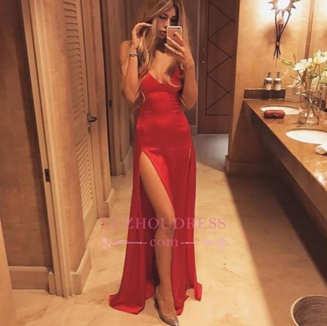 Split Sexy Spaghetti-Strap Floor-Length Red Prom Dress PT027
