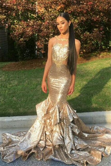 Gold Sequin Mermaid Prom Dresses  Sleeveless Ruffles Evening Gowns SK0128