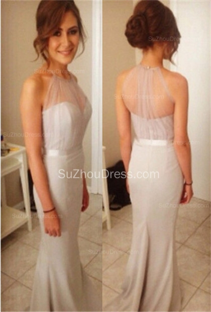 Prom Dresses Halter Sleeveless Mermaid Sash Sweep Train Grey Elegant  Evening Gowns
