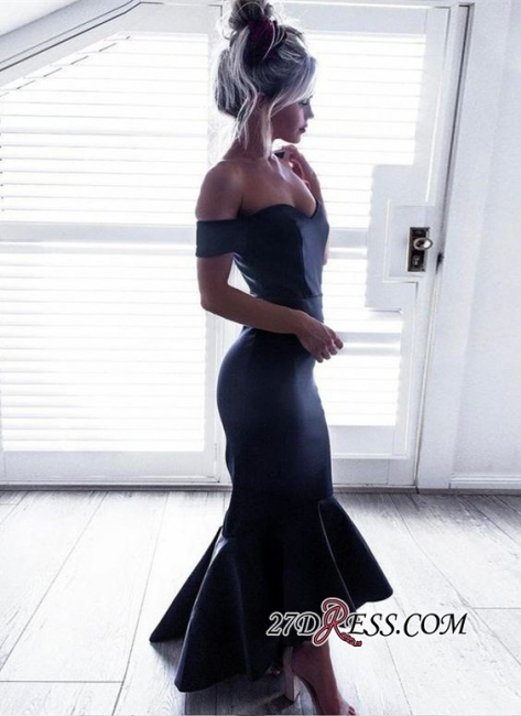 Sexy Black Off-the-Shoulder Hi-Lo Prom Dresses  Mermaid Simple Evening Gowns