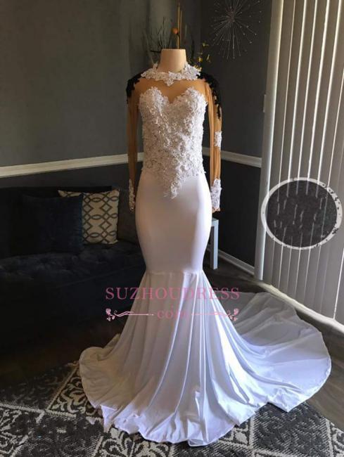 Mermaid  White Lace Appliques Sheer Long-Sleeves Black Prom Dresses