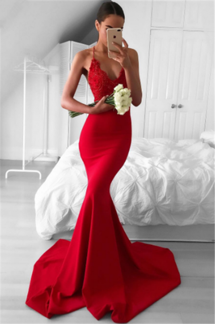 Spaghetti Straps Deep V-neck Red Evening Dresses  Mermaid Sexy Prom Dress BA7034