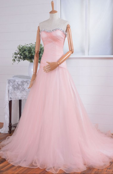 New Arrival Sweetheart Crystal Prom Dress A-Line Tulle Beading Formal Occasion Dresses