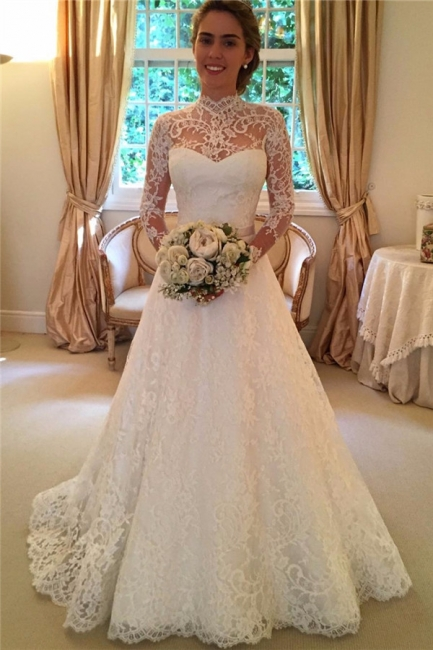 High Neck Lace Open Back Wedding Dress Vintage Long Sleeves Bridal Gown with Bow