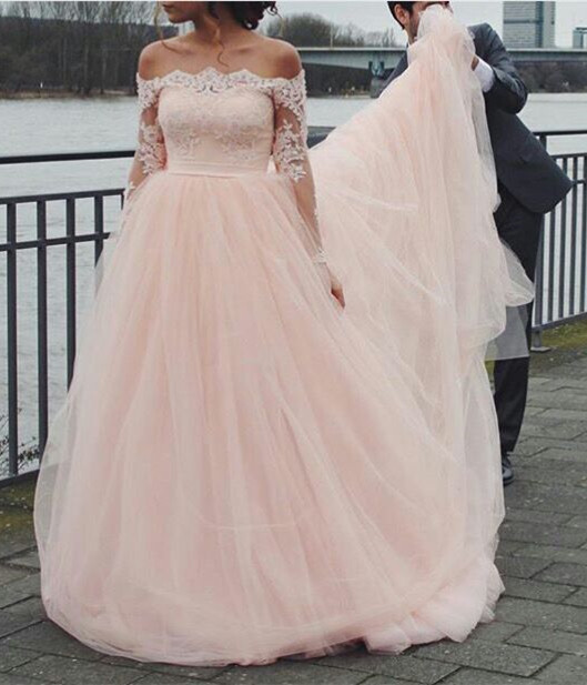 Cute Pink Off the Shoulder Prom Dress Long Sleeve Lace Tulle Evening Gown