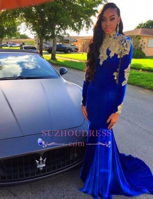 Appliques Royal Blue High Neck Long Sleeves Evening Dresses  Mermaid Prom Dress BA6113