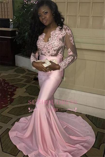 Lace-Appliques Pink Mermaid V-neck Long-Sleeves Long Sweep-Train Evening Dress BA7832