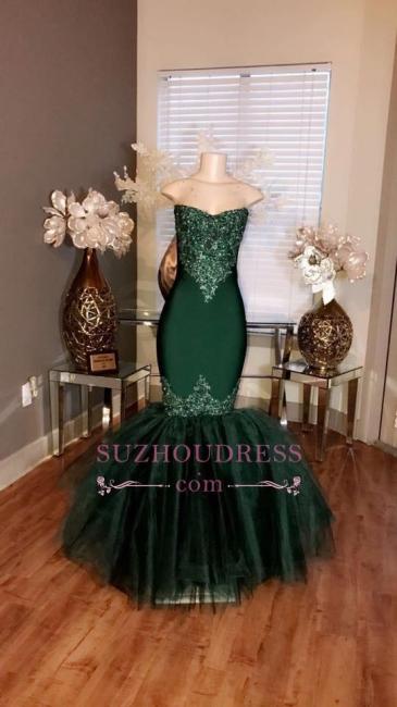 Prom Sweetheart Tulle Long Appliques Mermaid Dresses Sleeveless  BA5057