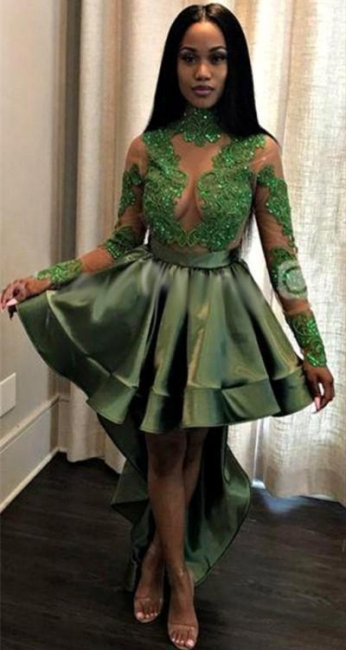 Sexy See Through Lace Long Sleeve Prom Dress |  Cheap Hi-lo Dark Green Evening Dress