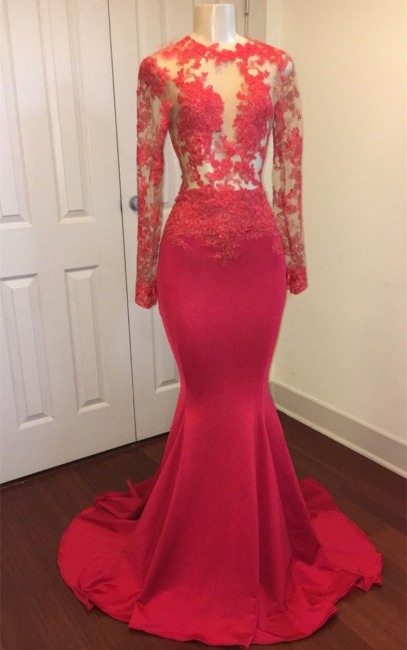 Lace Appliques See Through Prom Dresses Sexy    Long Sleeve Mermaid Evening Dress BA8403