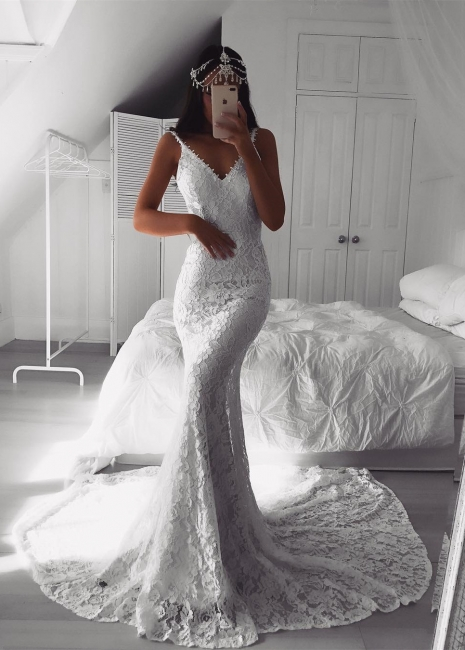 Alluring Affordable Wedding Dresses Lace V-Neck White Mermaid Bridal Gowns On Sale
