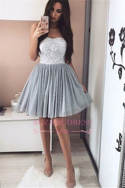 A-Line Short Sweetheart Appliques Simple Appliques Homecoming Dress