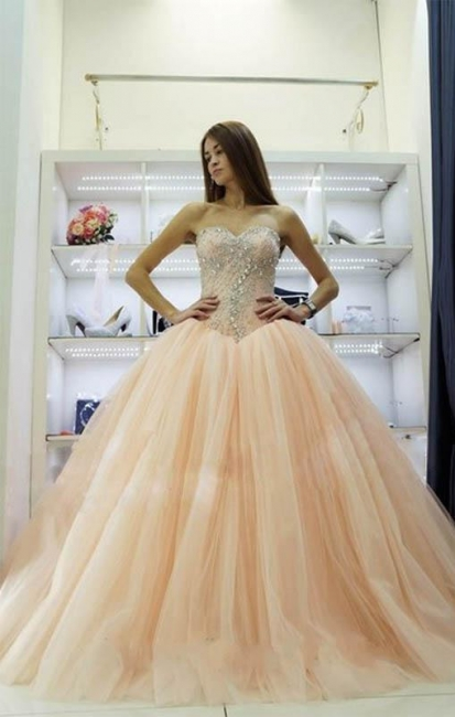 Pretty Sweetheart Princess Ball Gowns Crystals Beading  Wedding Dresses