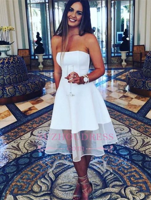 A-line White Sleeveless Knee Length  Newest Strapless  Homecoming Dress BA3855