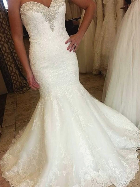 Elegant Sweetheart  Bridal Dresses Mermaid Lace Appliques Beaded Wedding Dress