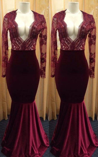 Sexy Deep V-neck Burgundy Lace Long Sleeve Prom Dress  Mermaid Velvet Evening Gown