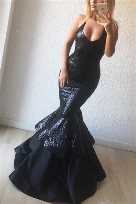 Black Sequins Sexy Evening Dresses   | Mermaid Sleeveless Straps Prom Dresses Online