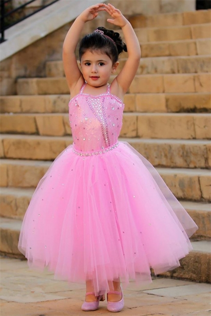 Pretty Pink Crystal Flower Girl Dresses    Open Back Pageant Dress with Detachbale Skirt