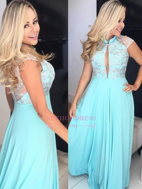 High Neck Cap Sleeve Prom Dresses |  Floor-Length Evening Dresses