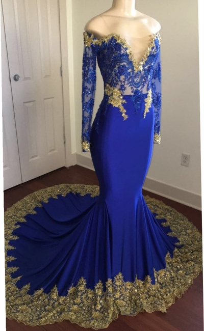 Off The Shoulder Royal Blue Prom Dresses | Gold Lace Appliques Sexy Evening Dress with Sleeve BA8283