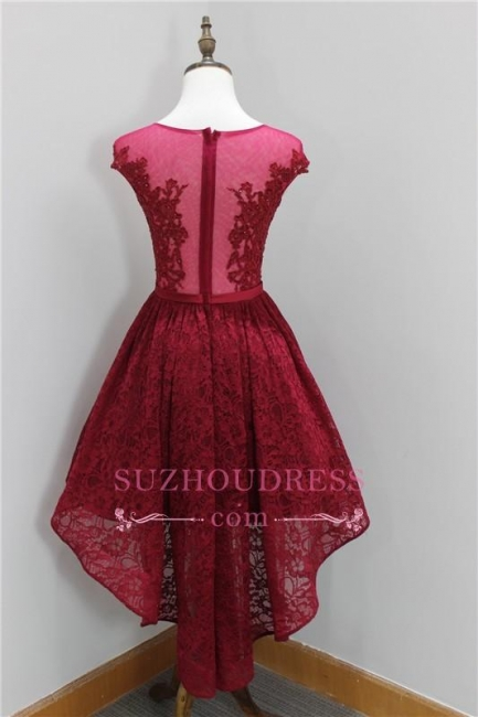 Sleeveless Elegant Appliques Short Lace Hi-Lo Beadings Homecoming Dress BA6155
