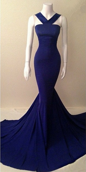 Blue Halter Mermaid Long Evening Dress New Arrival Court Train Plus Size Formal Occasion Dresses